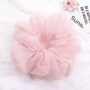 🎉 Large Pink Organza Scrunchie Hair Accessory